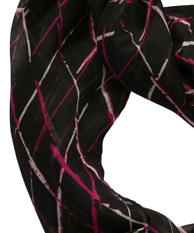 Diamond Print Eternity Scarf, Pink/Black/Milkshake, hi-res