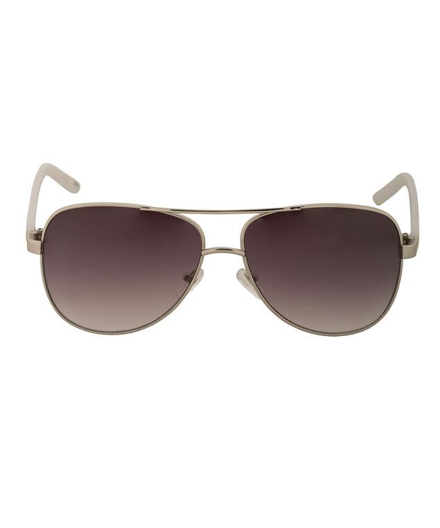 Zebra Arm Aviator Sunglasses, Silver/Black/White, hi-res