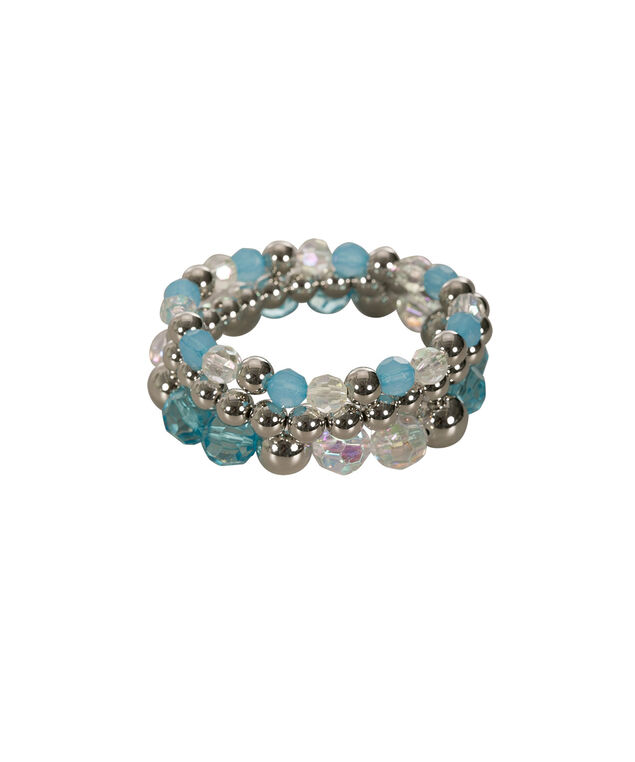 Faceted & Stone Stretch Bracelet Set, Ocean Blue/Rhodium, hi-res