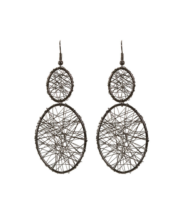 Wire Wrapped Cut Out Earring, Hematite, hi-res