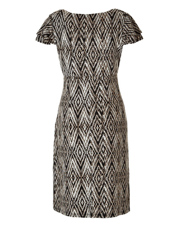 Neutral Flutter Sleeve Dress, Black/White/Dk. Taupe, hi-res