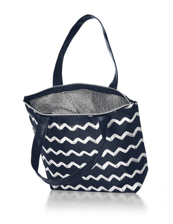 Navy Chevron Lunch Tote, Navy/White, hi-res