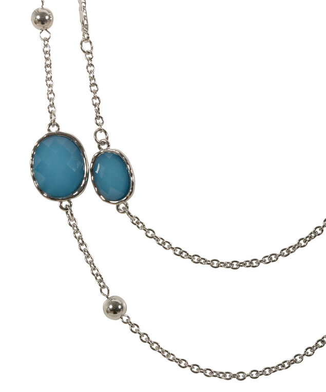 Faceted Stone Necklace, Turquoise/Rhodium, hi-res