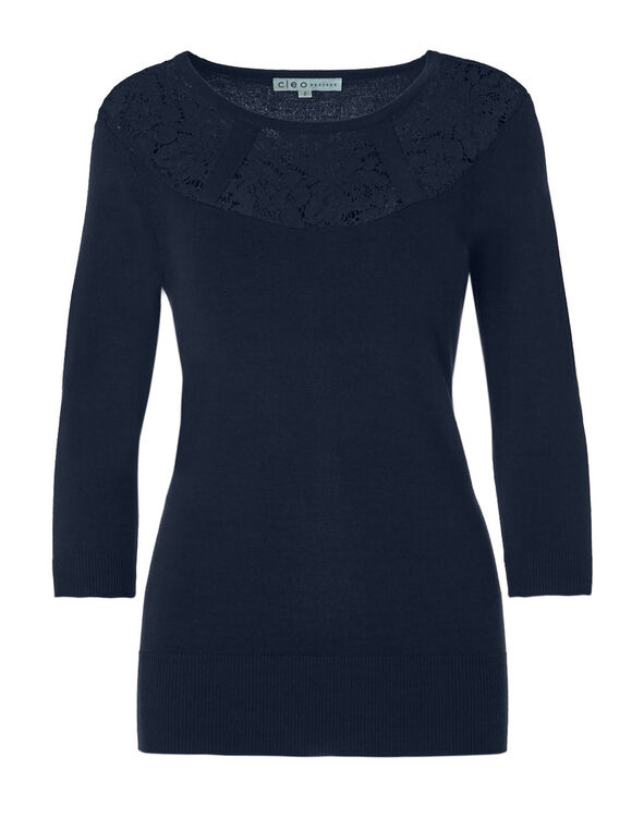 Navy Lace Pullover Sweater, Navy, hi-res