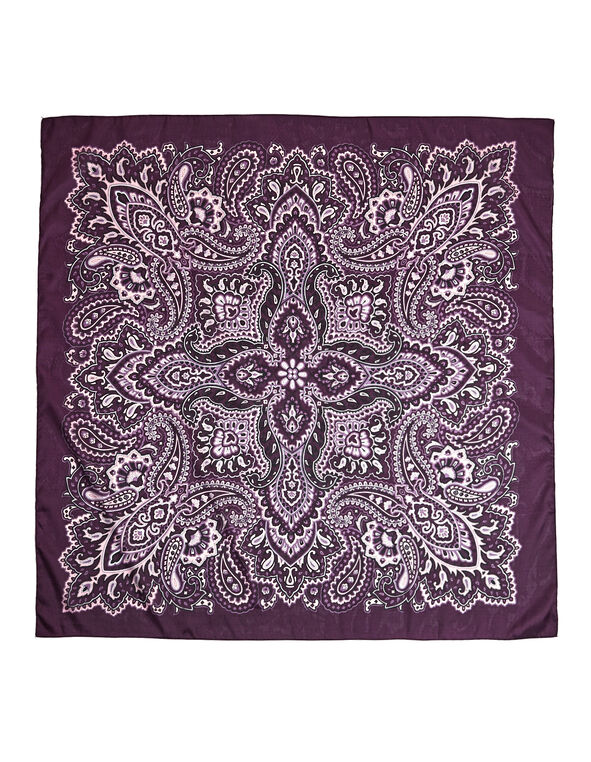 Purple Paisley Square Scarf, Deep Plum/Dusty Pink/Blue Cloud, hi-res
