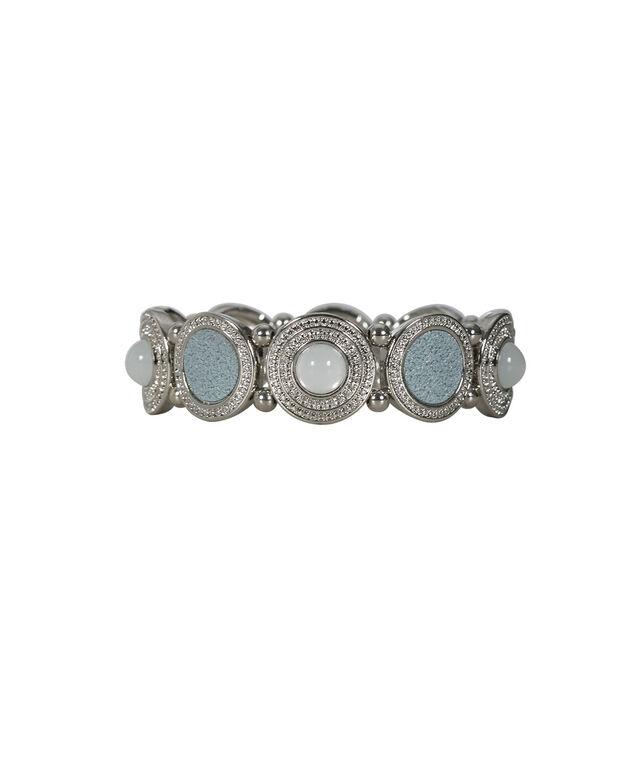 Textured Circle Glitter Bracelet, Light Blue/White/Rhodium, hi-res