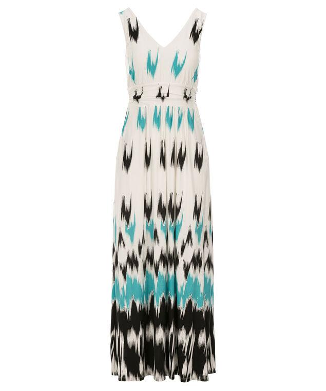Ruched Waist Maxi Dress, Blue Print, hi-res