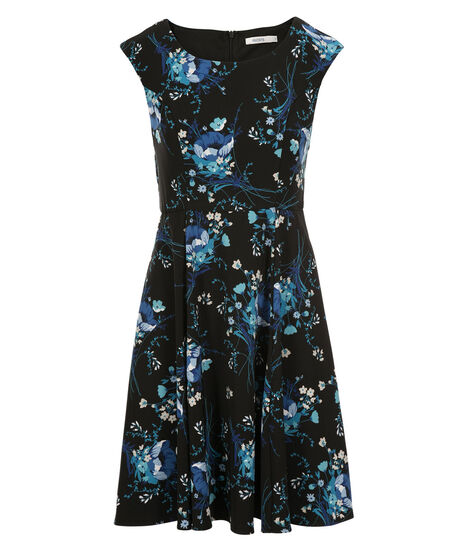 Floral Print Twill Dress, Black/Sapphire Print, hi-res