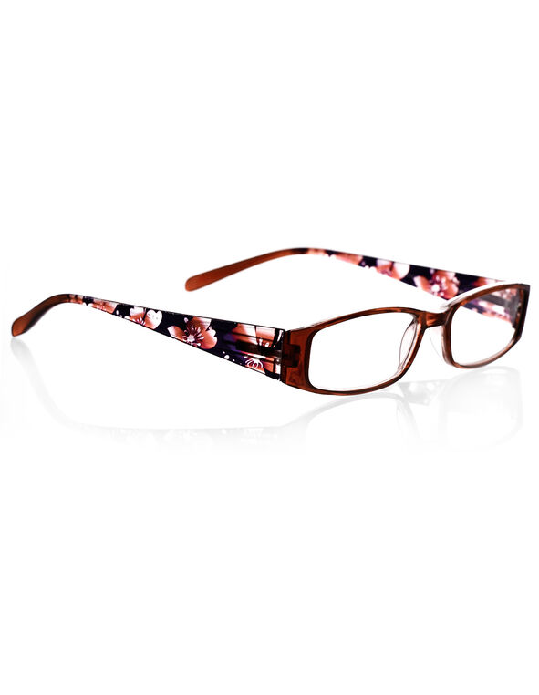 Brown Floral Print Readers, Brown/Black/Purple, hi-res