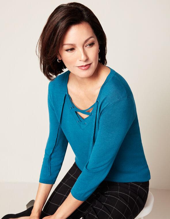 Dark Turquoise Tie Up Sweater, Dark Turquoise, hi-res