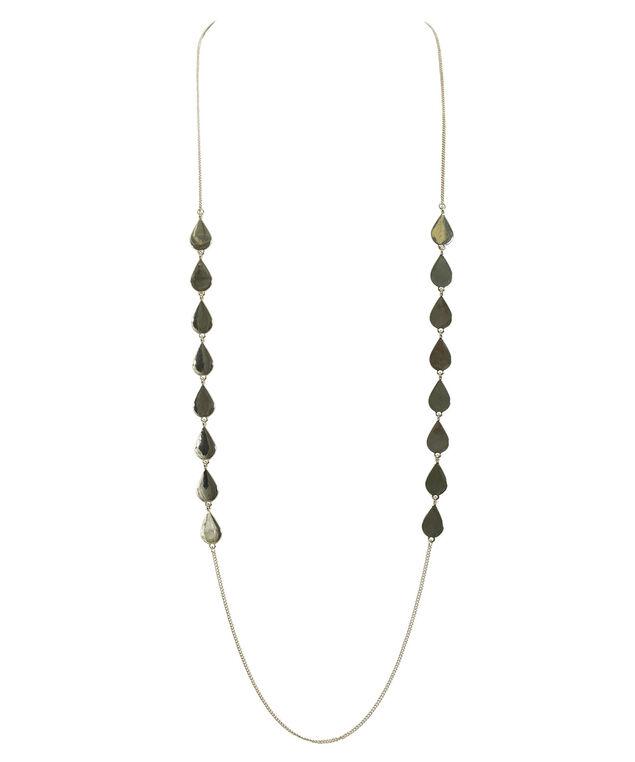 Stationed Teardrop Necklace, Soft Gold, hi-res