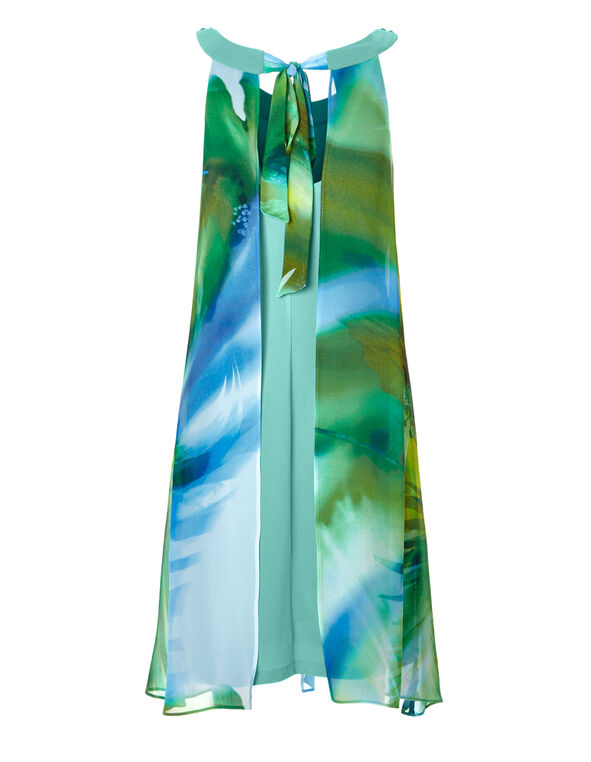 Floral Beaded Halter Dress, Green/Blue/Yellow/White, hi-res