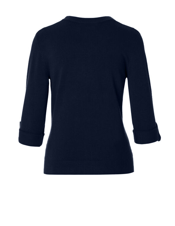 Navy Roll Up Sleeve Sweater Topper, Navy, hi-res