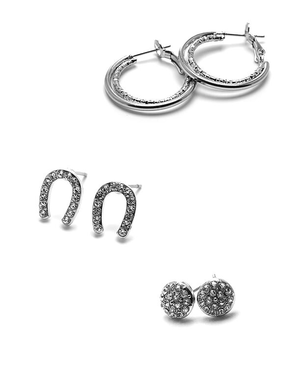 Crystal Horseshoe Earring Set, Silver, hi-res