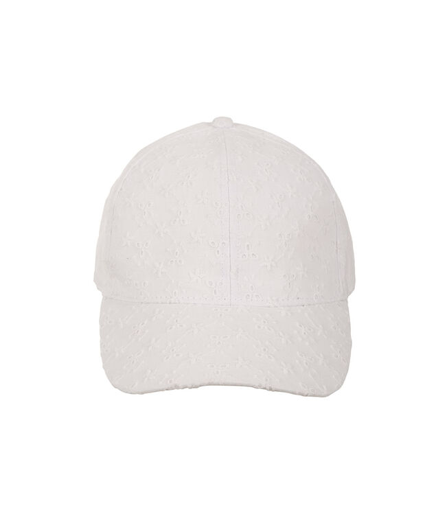 Eyelet Baseball Cap, White, hi-res