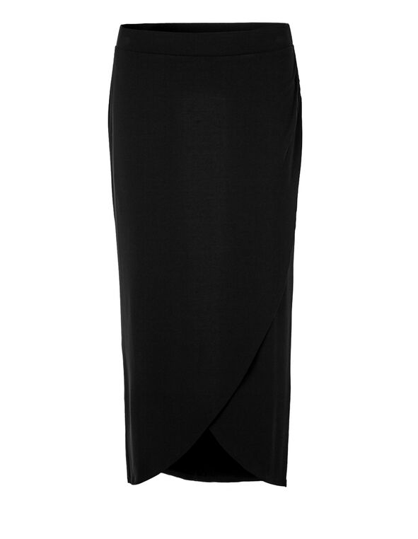 Black Crossover Maxi Skirt, Black, hi-res