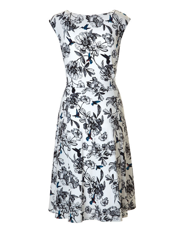 White Floral Fit and Flare Dress, White/Black/Turquoise, hi-res