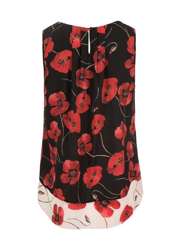 Poppy Print Layered Blouse, Red Print, hi-res