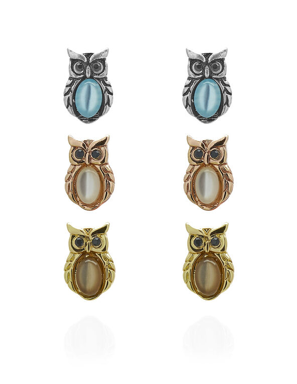 Owl Trio Earring Set, Silver/Rose Gold/Gold, hi-res