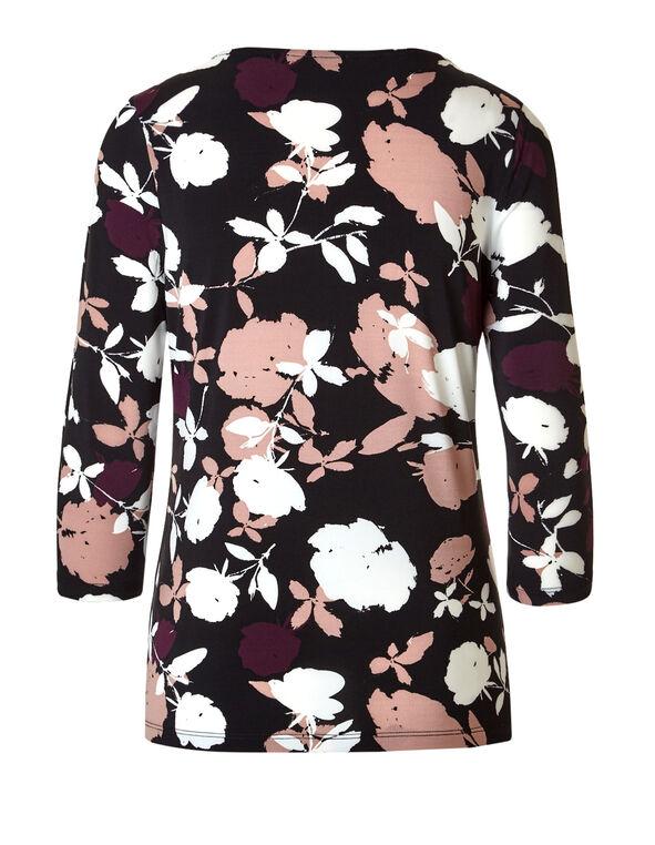 Floral Print 3 Ring Top, Black/Claret/Dusty Pink/White, hi-res