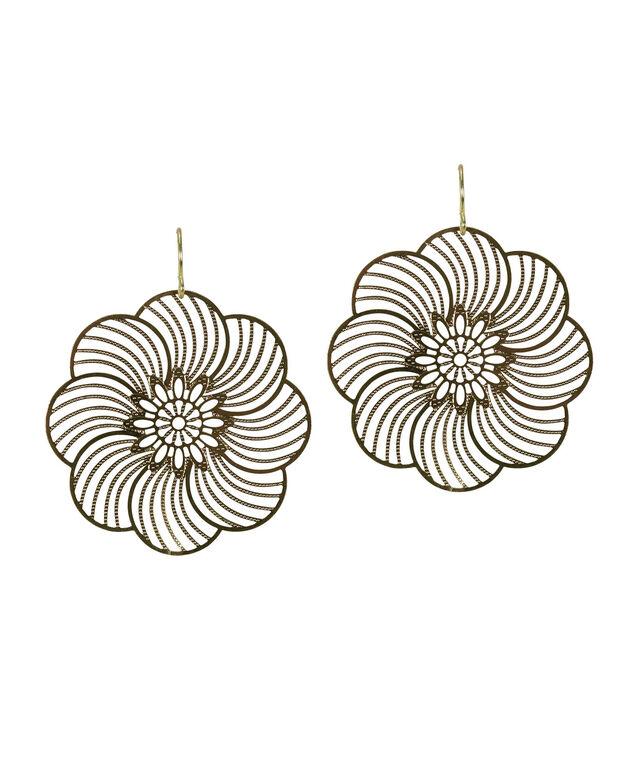 Floral Fan Earring, Antique Gold, hi-res