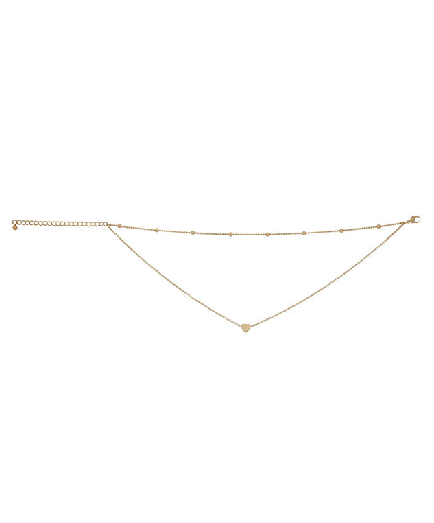double chain choker with heart, GOLD, hi-res
