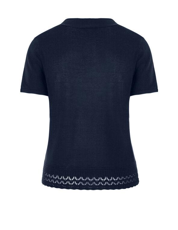 Navy Short Sleeve Cardigan, Navy, hi-res