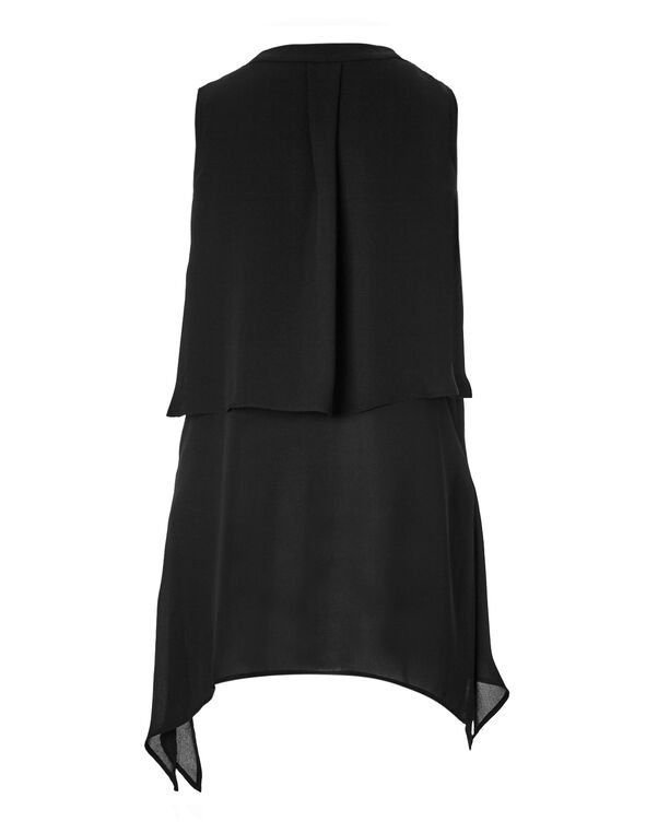 Black Ruffle Front Blouse, Black, hi-res
