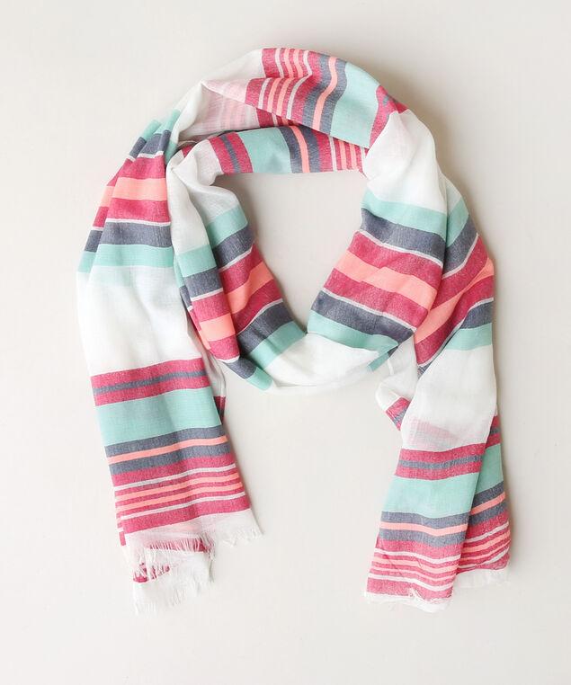 pink multi stripe scarf, PINK/TURQ, hi-res
