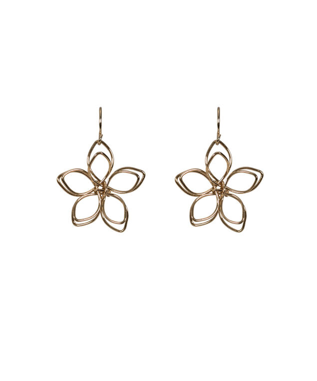 Floral Wire Earring, Antique Gold, hi-res