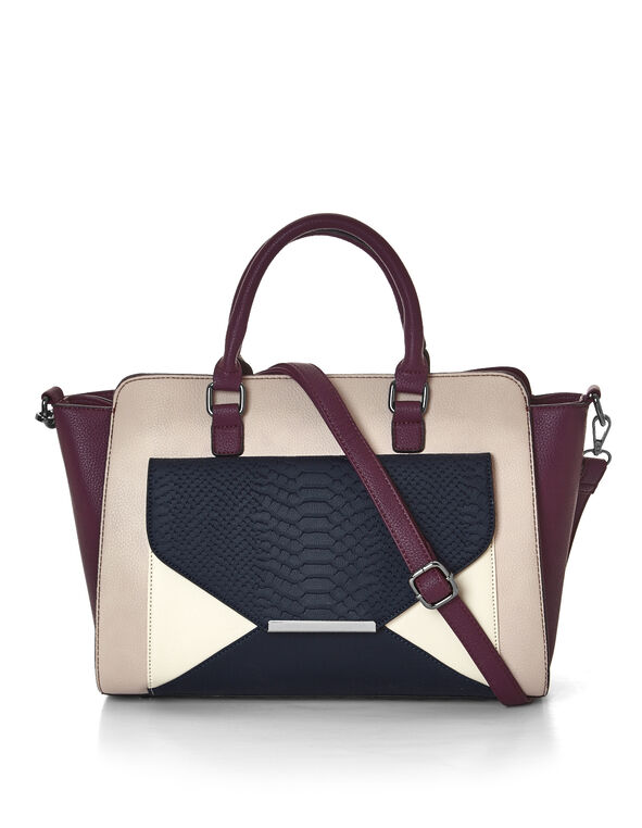 Claret Croc Lady Bag, Claret/Dusty Pink/Navy, hi-res