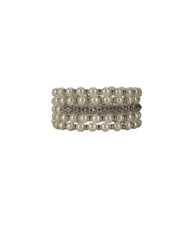 Wrapped Pearl Bracelet, White/Rhodium, hi-res