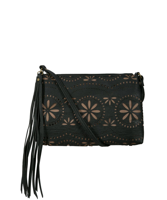 Perforated Crossbody Bag, Black, hi-res