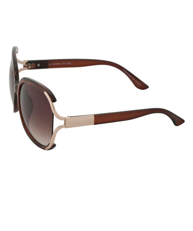 Metal Temple Detail Sunglasses, Brown/Gold, hi-res