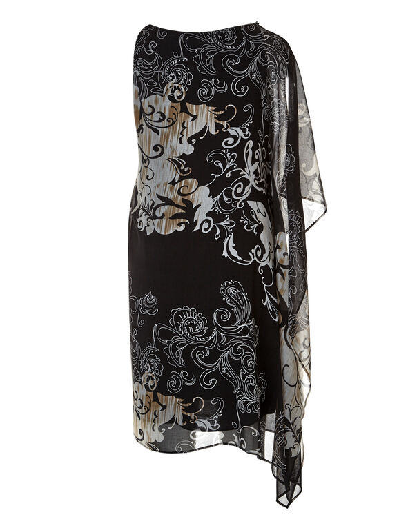 Black Floral Single Sleeve Dress, Black/Tan, hi-res