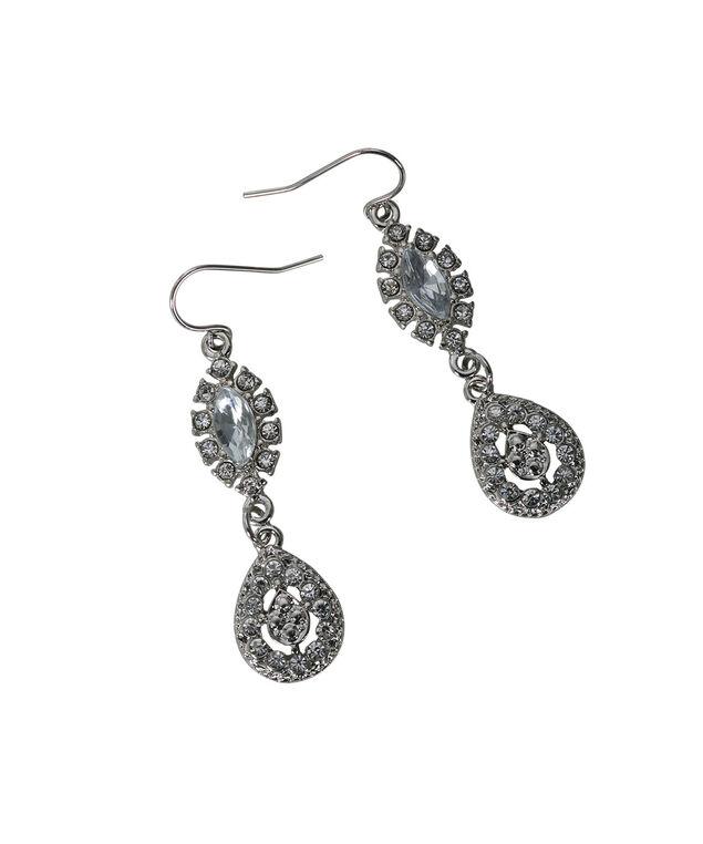 Teardrop Crystal Earring, Rhodium, hi-res