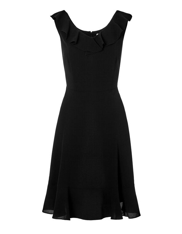 Black Ruffle Dress, Black, hi-res