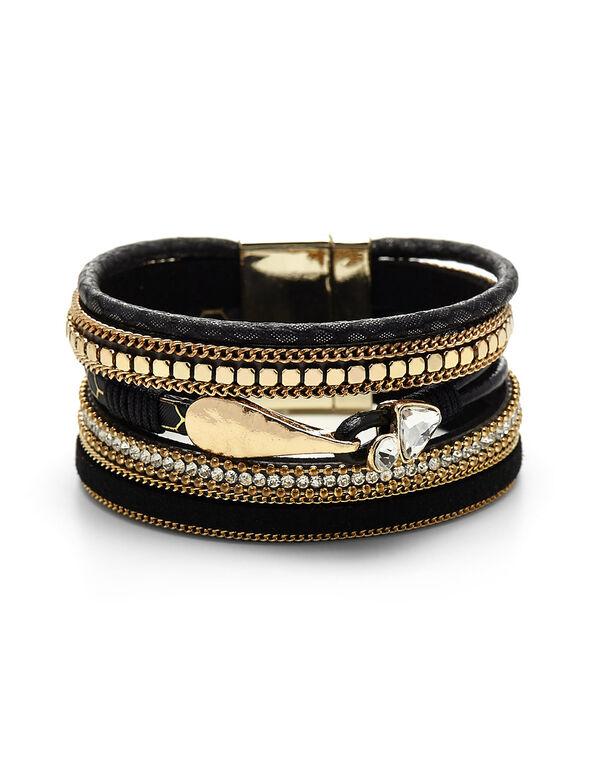 Black Wrap Bracelet, Black/Gold, hi-res