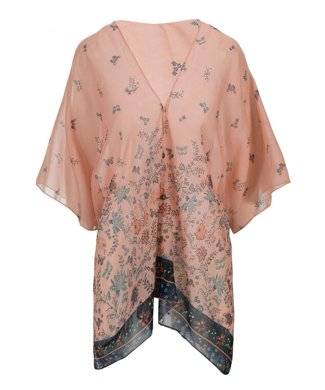 Button Front Ruana, Peach/Navy Print, hi-res