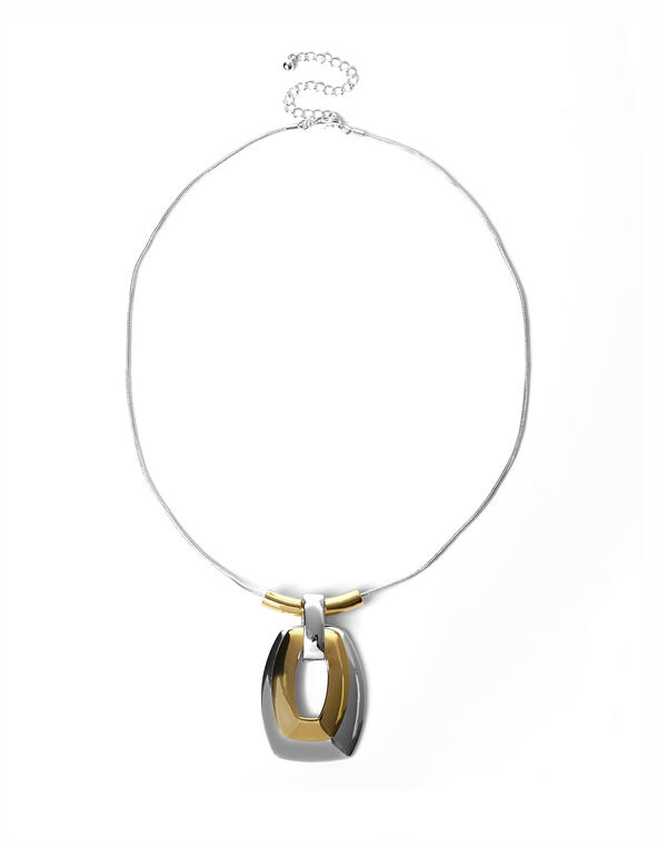 2 Tone Rectangle Pendant Necklace, Rhodium/Gold, hi-res