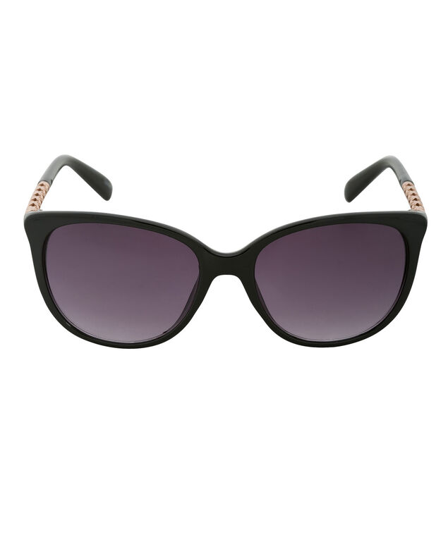 Textured Arm Detail Sunglasses, Black, hi-res