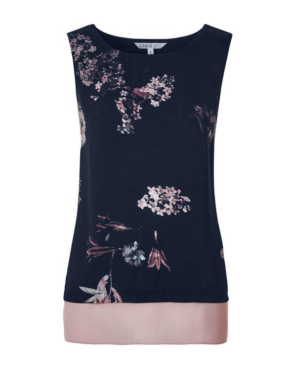 Floral Chiffon Hem Top, Navy/Dusty Pink/White, hi-res