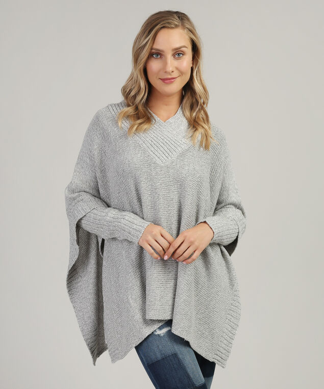 poncho with crossover v-neck - wb, GREY TWIST, hi-res