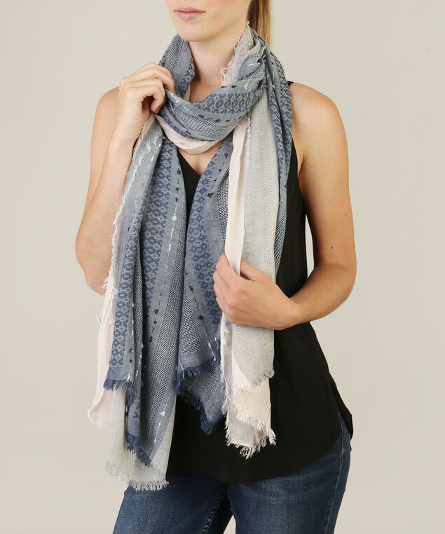 border print oblong scarf, ROSE/STORM, hi-res