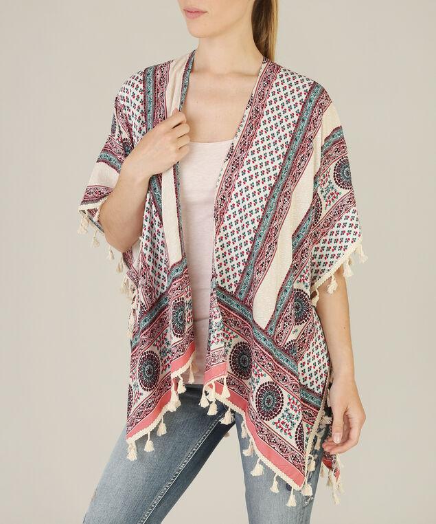 allover print kimono, CORAL MIX, hi-res