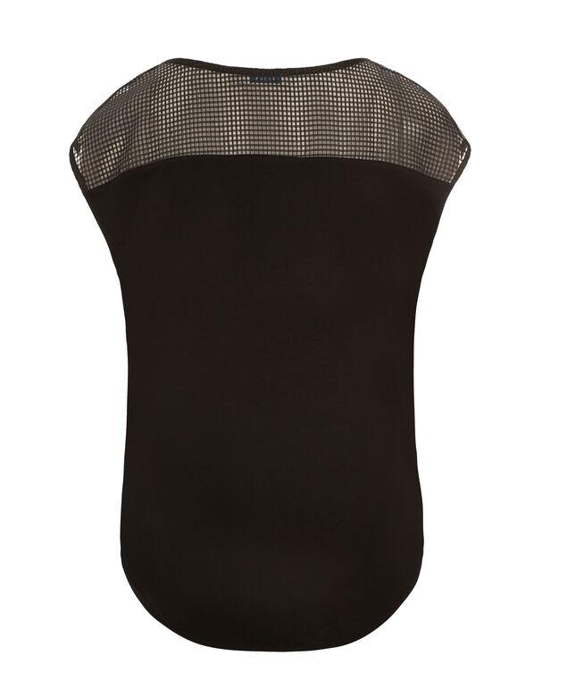 Perforated Yoke Zip Top, Black, hi-res