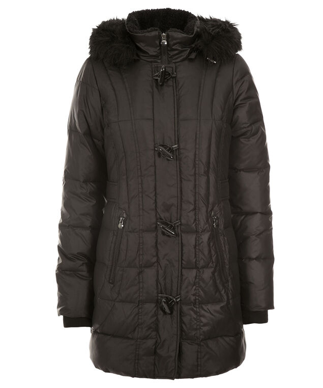 Toggle Puffer Coat, Black, hi-res