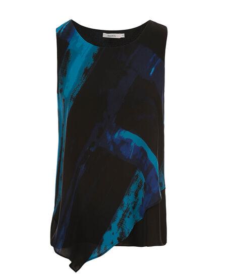 Asymmetric Blouse Tank, Blue Print, hi-res