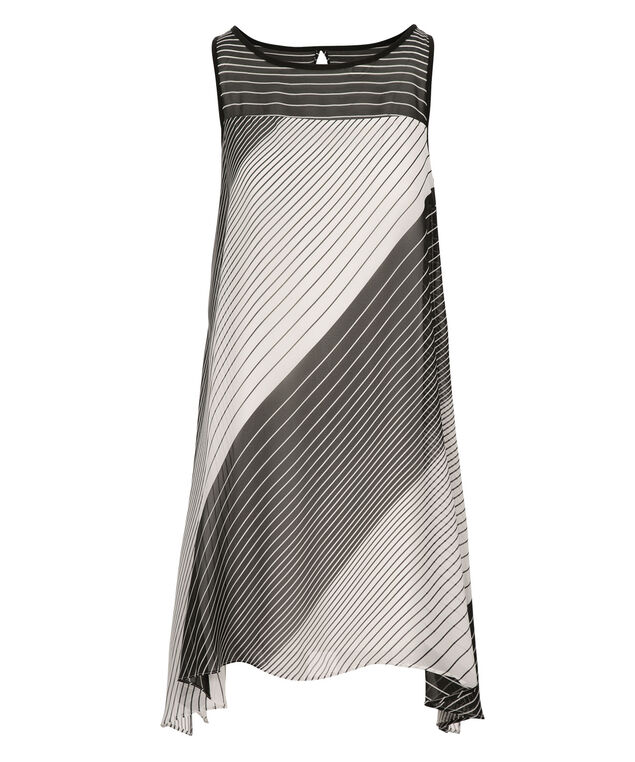 Robbie Bee Striped Trapeze Dress, Black/White/Stripe, hi-res