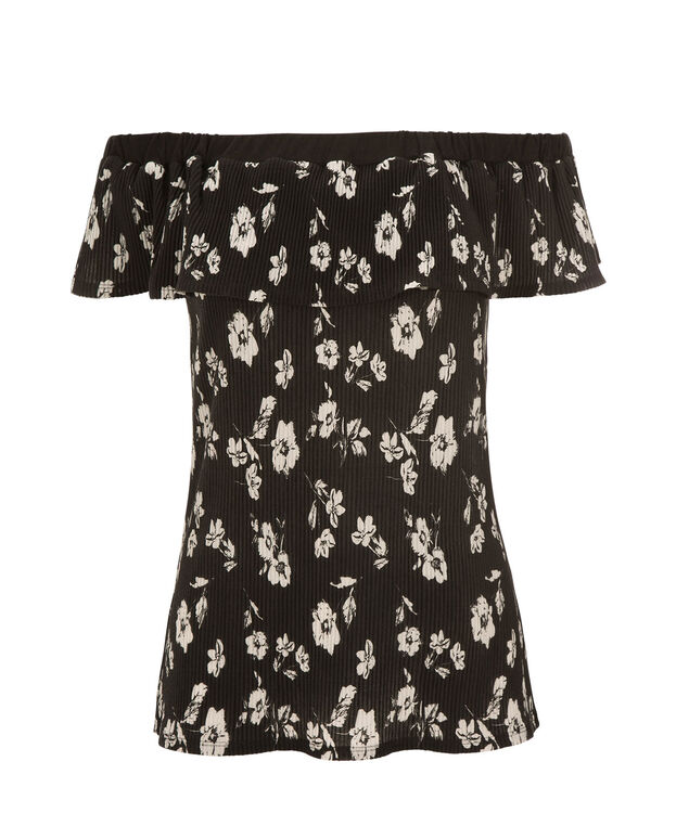 Off Shoulder Floral Top, Black/White Print, hi-res